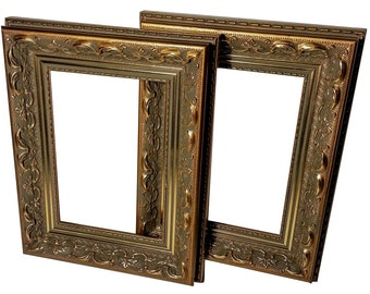 Set Of 2   Ornate Gold Picture Frame Set, Wood, Photo Frame Gold,