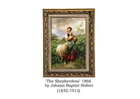14x10 Vintage Canvas Art The Shepherdess 1866 By Johann Etsy
