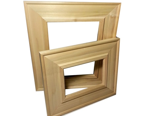 Wide Unfinished Picture Frame Raw Wood Picture Frames Etsy