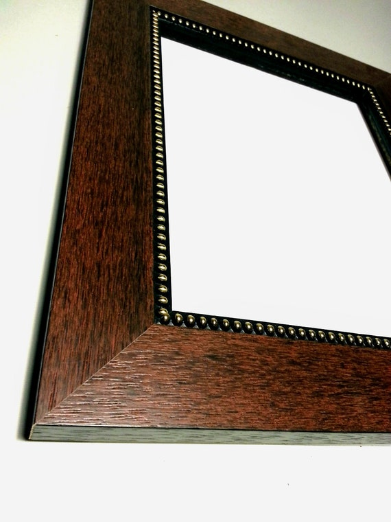 Wide Mahogany Picture Frame Gold Beaded Lip Photo Frame Etsy