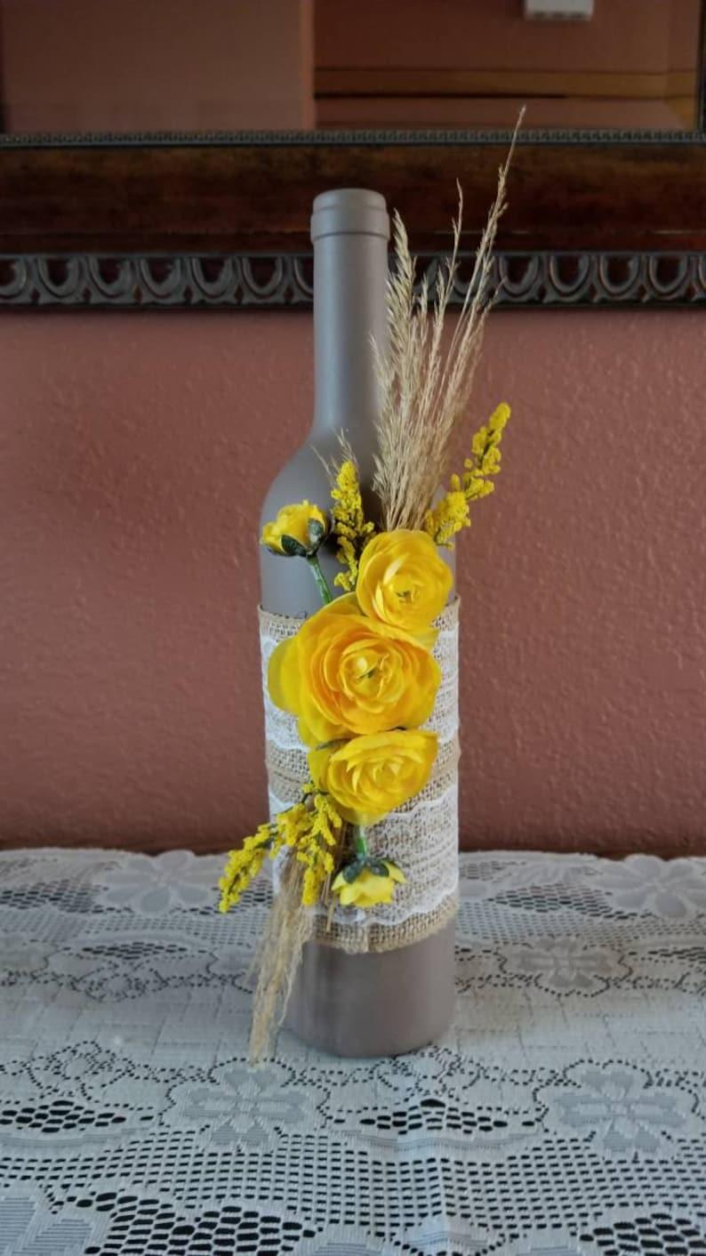 Decorated wine bottle painted wine bottle flower wine image 0