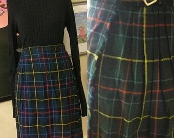 bebdea4c7 Vintage 60s 70s Pleated Plaid Kilt Skirt