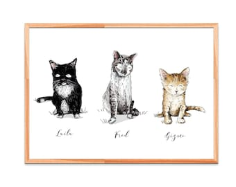 Custom Cat Family Pet Portrait Color or Black and White