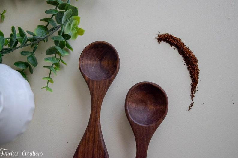 Handcarved spoons Coffee Scoops Black Walnut Hand Carved wooden scoops Hand made spoons