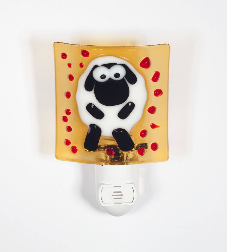 Sheep night light on yellow background baby shower gift new image 0