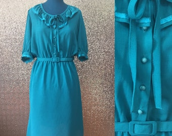 vintage teal ruffle collar tie neck belted dress