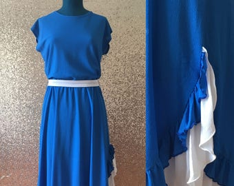 vintage blue and white ruffled dress