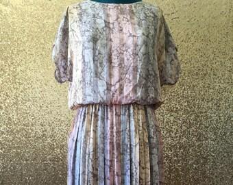vintage pastel floral pleated dress