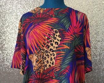 vintage wild colourful leopard jungle print blouse