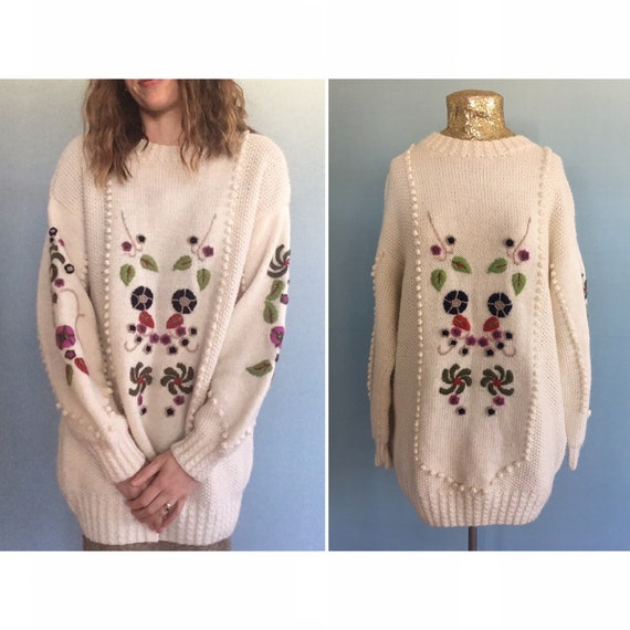 vintage cream knitted bobble embroidered floral ov