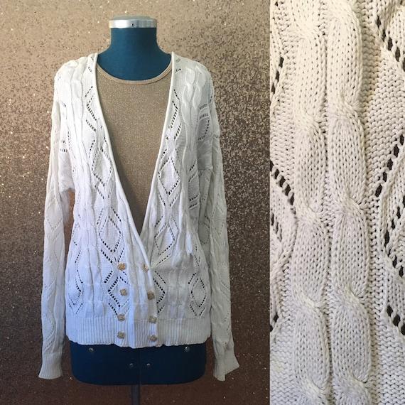 d03e1c9602444e vintage white cable knit cardigan