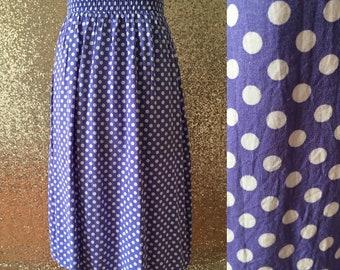 vintage purple and white polka dot skirt