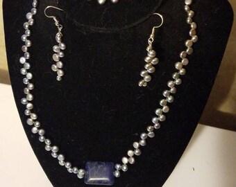 Grey pearl necklace, bracelet, & earring set