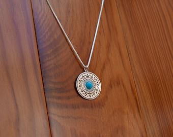 Turquoise Sundial Pendant Necklace