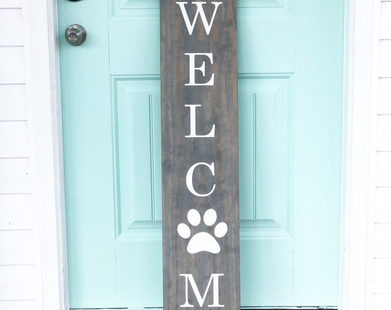 LARGE Front Porch Sign | WELCOME | Customized Front Porch Sign | Paw Prints | Gift for Dog Lovers
