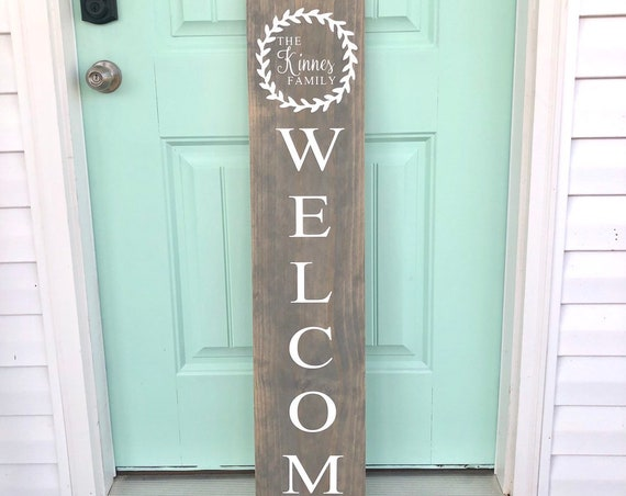 Family Name Front Porch Sign | WELCOME | Customized Front Porch Sign | Custom Family Sign | Personalized | Housewarming Gift