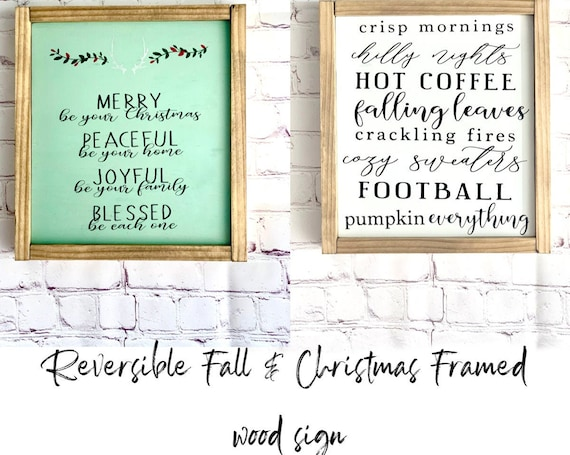 Reversible Fall & Christmas Wood Sign | Merry, Peaceful, Joyful, Blessed | Fall Decor | Christmas Decor | Holiday Decor | Pumpkin Everything