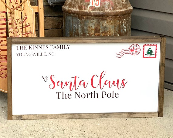 Letter to Santa wood Sign | Framed wood signs | Christmas Decor | Holiday Decor | Farmhouse Christmas | Custom Family | North Pole Letter