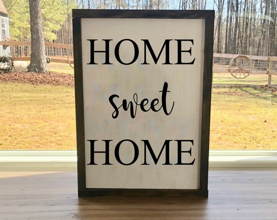 Home Sweet Home | Rustic Wood sign | Hand Painted | Framed Wood Sign