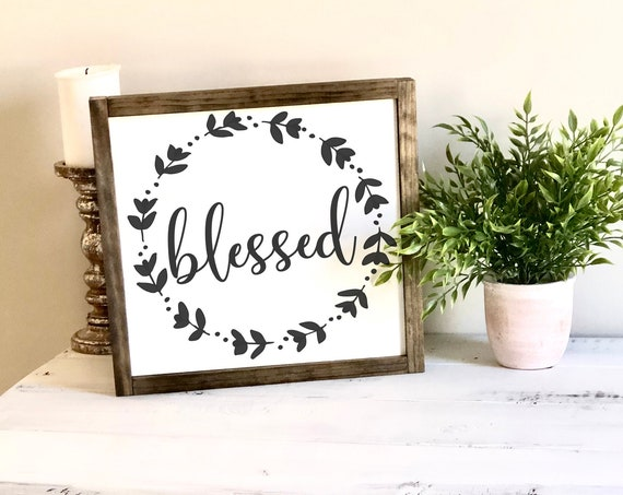 Blessed | Wreath Sign | Framed Farmhouse Sign | Housewarming Gift | Family Sign | Anniversary Gift | Rustic Sign | Gift for her