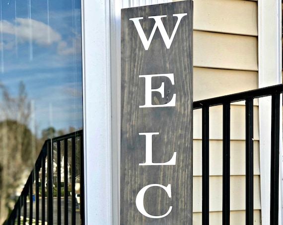WELCOME Front Porch Sign   Large Front Porch Sign   Customized Front Porch Sign   Outdoor Decor