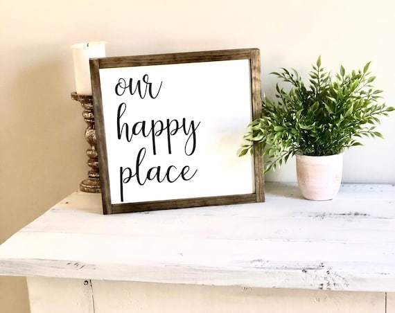Our Happy Place | Framed Farmhouse Sign | Housewarming Gift | Family Sign | Anniversary Gift | Rustic Sign | Home