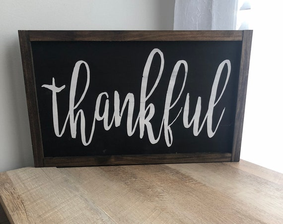 Thankful, Blessed, Grateful, Gather, Farmhouse | Custom Framed Farmhouse Sign | Fall Decor |