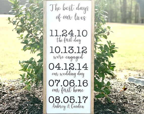 Custom Important dates | Best days of our lives | Family | Gallery Wall | Mothers Day | Framed Wood Sign | Wedding Gift | Anniversary Gift