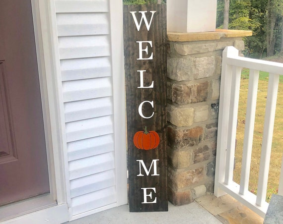 Welcome front porch sign with Pumpkin   Rustic Front Porch Sign   LARGE Front Porch Sign   Customized   Fall Signs and Decor