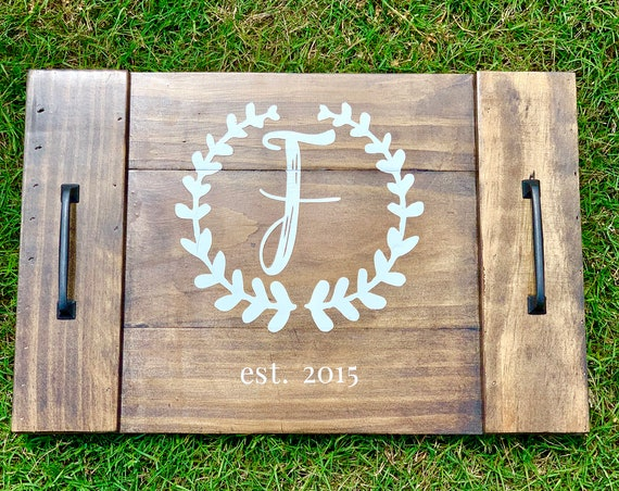 Custom Wood Tray | Coffee Table Decor | Coffee Table Tray | Home Decor | Farmhouse | Rustic | Personalized Wood Tray | Family
