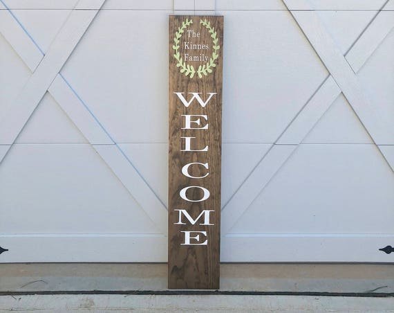 LARGE Front Porch Sign   Customized Front Porch Sign   WELCOME   Housewarming Gift   Family Welcome Sign