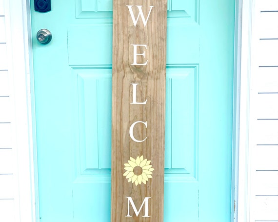 LARGE Front Porch Sign | WELCOME | Customized Front Porch Sign | Sunflower | Housewarming Gift