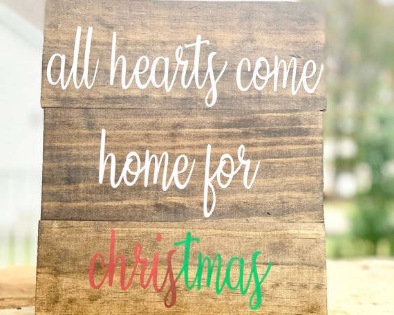 All hearts come home for Christmas | Small Wood Pallet Sign | Home Decor | Christmas Decor | Christmas Wood Sign | Gift for mom | Holiday