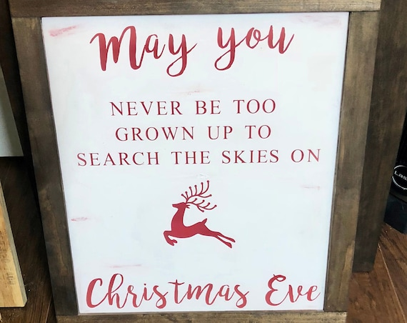 Christmas Eve Sign | Large Framed Wood Sign | Farmhouse Decor | Rustic Wood Sign | Christmas Decor | Holiday Decor
