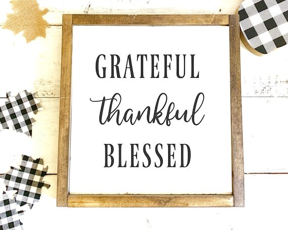 Grateful Thankful Blessed | Fall Quotes | Framed Wood Sign | Farmhouse Decor | Fall Signs | Gift for Her | Thanksgiving