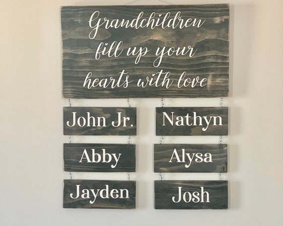Grandchildren Fill Up Your Hearts With Love | Custom Grandchildren Name Sign | Personalized | Gift for Grandparents | Mothers Day Gift |