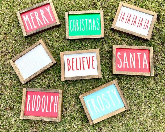 Rae Dunn Inspired Christmas Mini Wood Sign | Framed wood signs | Rae Dunn signs | Rustic Christmas signs | Farmhouse Christmas Signs