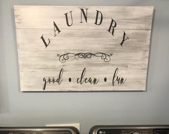 White Wash Laundry Room | Distressed Pallet Wood Sign | Hand Painted | Mother's Day Gift | Rustic Wood Sign | Farmhouse | Home Decor