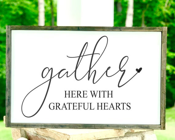 Gather here with grateful hearts | Large Framed Sign | Rustic | Farmhouse Decor | Fall Signs | Fall Decor | Dining Room Decor | Thanksgiving
