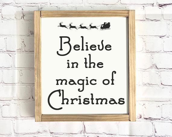 Believe In The Magic Of Christmas | Framed Wood Sign | Farmhouse Decor | Merry Christmas | Rustic Wood Sign | Christmas Sign | Santas Sleigh