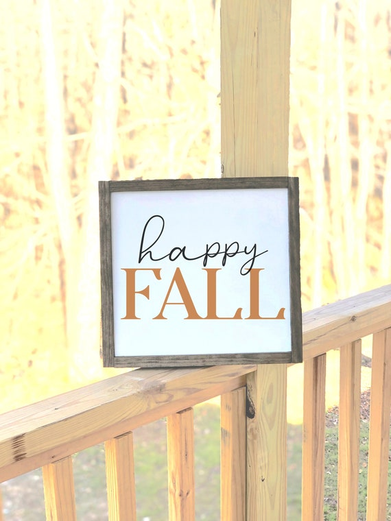Happy Fall | Framed Wood Sign | Farmhouse Decor | Fall Signs | Gift for Her | Thanksgiving decor
