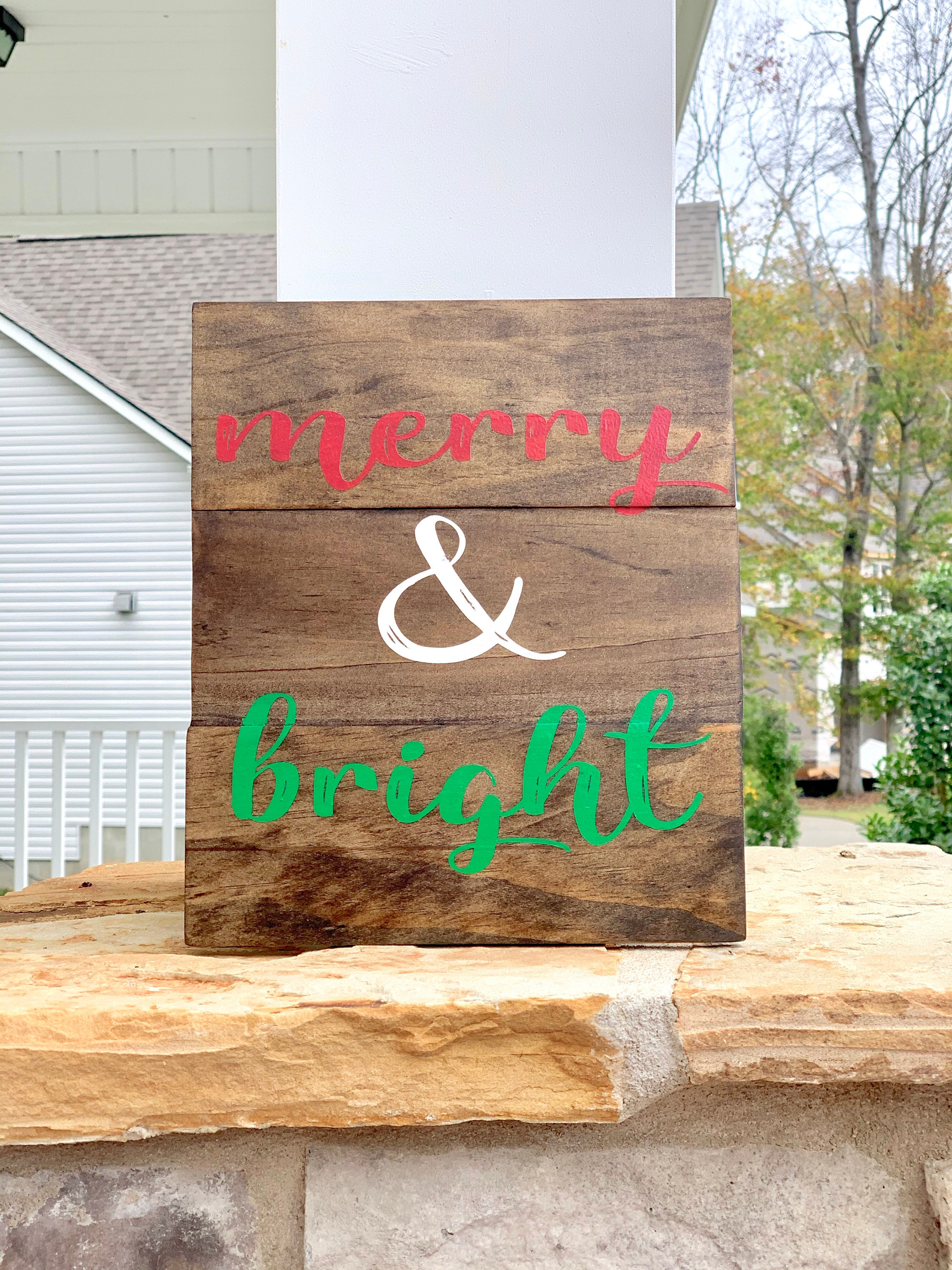 Merry Bright Small Wood Pallet Sign Home Decor