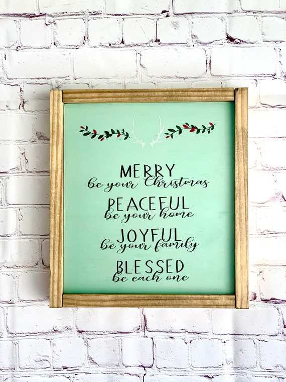 Christmas Wood Sign | Merry, Peaceful, Joyful, Blessed | Framed Wood Sign| Christmas Decor | Holiday Decor | Rustic | Farmhouse