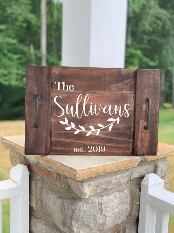 Last Name Wood Tray | Coffee Table Decor | Coffee Table Tray | Wedding Gift | Farmhouse | Rustic | Personalized Wood Tray | Family