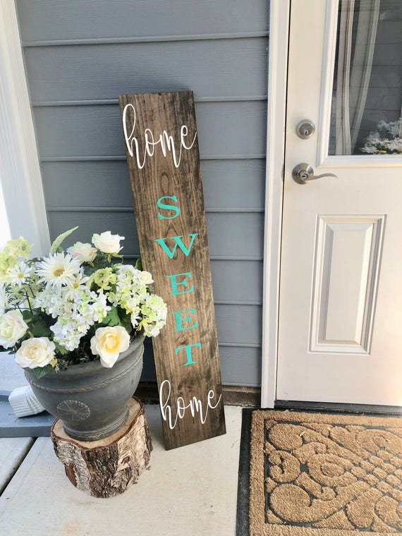 Home Sweet Home   Rustic Front Porch Sign   LARGE Front Porch Sign   Customized