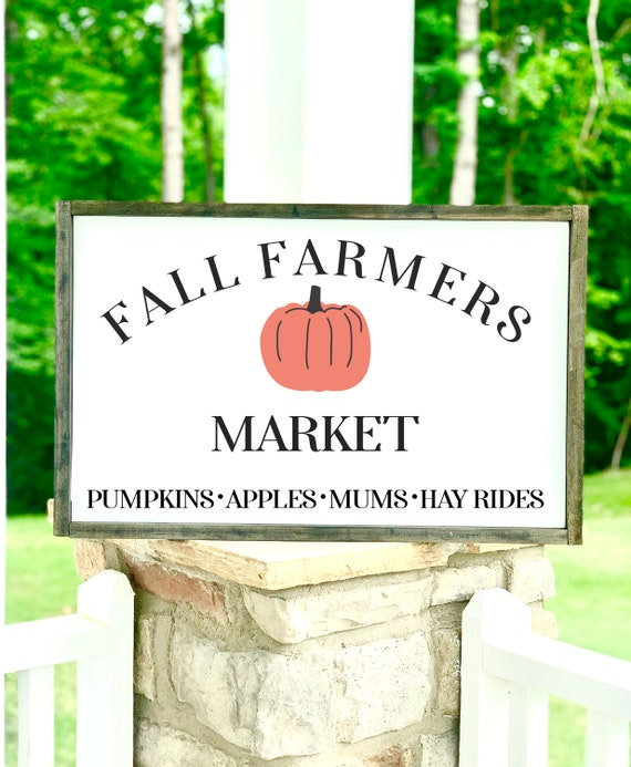 Fall Farmers Market | Large Framed Sign | Rustic Decor | Farmhouse Decor | Fall Signs | Fall Decor | Pumpkins
