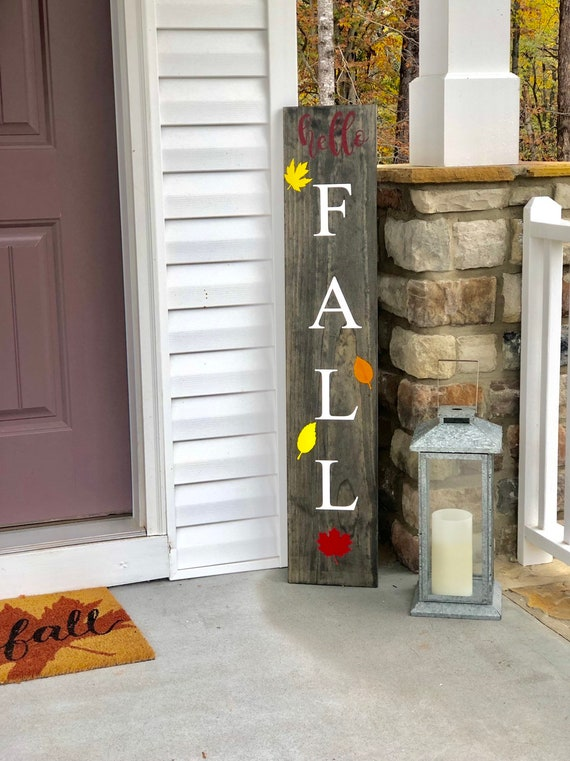 Falling Leaves | Rustic Front Porch Sign | LARGE Front Porch Sign | Customized | Fall Signs and Decor