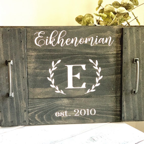 Last Name Wood Tray   Coffee Table Decor   Coffee Table Tray   Wedding Gift   Farmhouse   Rustic   Personalized Wood Tray   Family