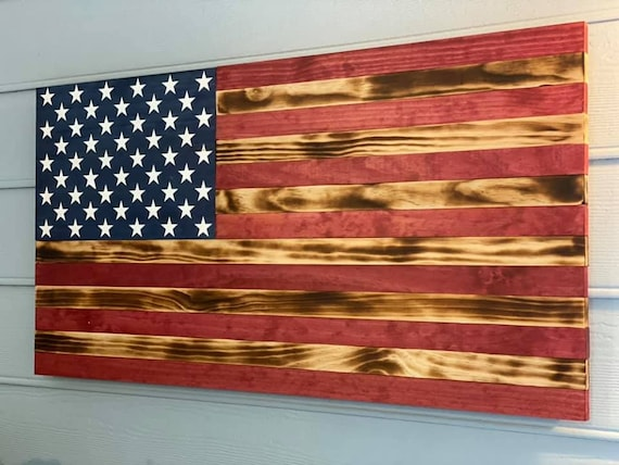 Rustic American Wood Flag, Handcrafted Wooden Flag, Wooden Flag, Gift for him, USA, Wood Flag