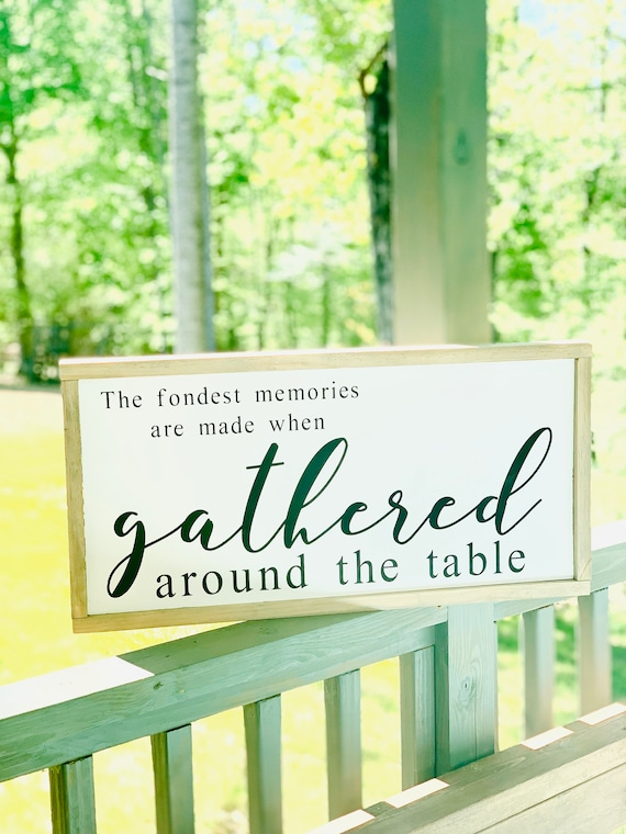 Gathered Dining Room Sign| Large Framed Wood Sign | Farmhouse Decor | Thanksgiving Decor | Fall Decor